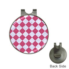 Square2 White Marble & Pink Denim Hat Clips With Golf Markers