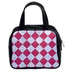 Square2 White Marble & Pink Denim Classic Handbags (2 Sides) by trendistuff