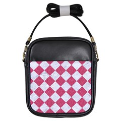 Square2 White Marble & Pink Denim Girls Sling Bags by trendistuff