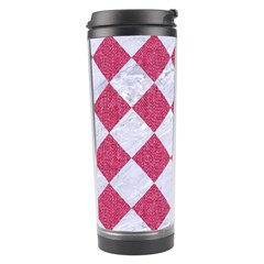 Square2 White Marble & Pink Denim Travel Tumbler by trendistuff