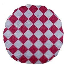 Square2 White Marble & Pink Denim Large 18  Premium Flano Round Cushions by trendistuff
