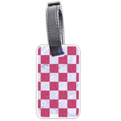 Square1 White Marble & Pink Denim Luggage Tags (one Side)  by trendistuff