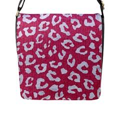 Skin5 White Marble & Pink Denim (r) Flap Messenger Bag (l)  by trendistuff