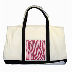Skin4 White Marble & Pink Denim (r) Two Tone Tote Bag by trendistuff