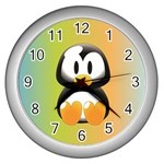 Tux Linux Hacker custom Wall Clock (Silver)