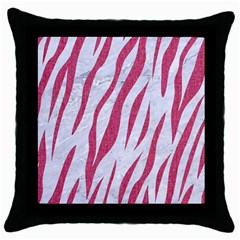 Skin3 White Marble & Pink Denim (r) Throw Pillow Case (black) by trendistuff