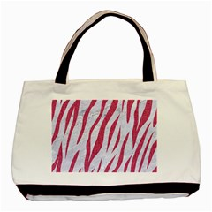 Skin3 White Marble & Pink Denim (r) Basic Tote Bag (two Sides) by trendistuff