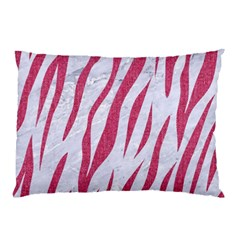 Skin3 White Marble & Pink Denim (r) Pillow Case by trendistuff