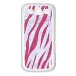 SKIN3 WHITE MARBLE & PINK DENIM (R) Samsung Galaxy S3 Back Case (White) Front