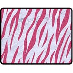 SKIN3 WHITE MARBLE & PINK DENIM (R) Double Sided Fleece Blanket (Medium)  58.8 x47.4 Blanket Front
