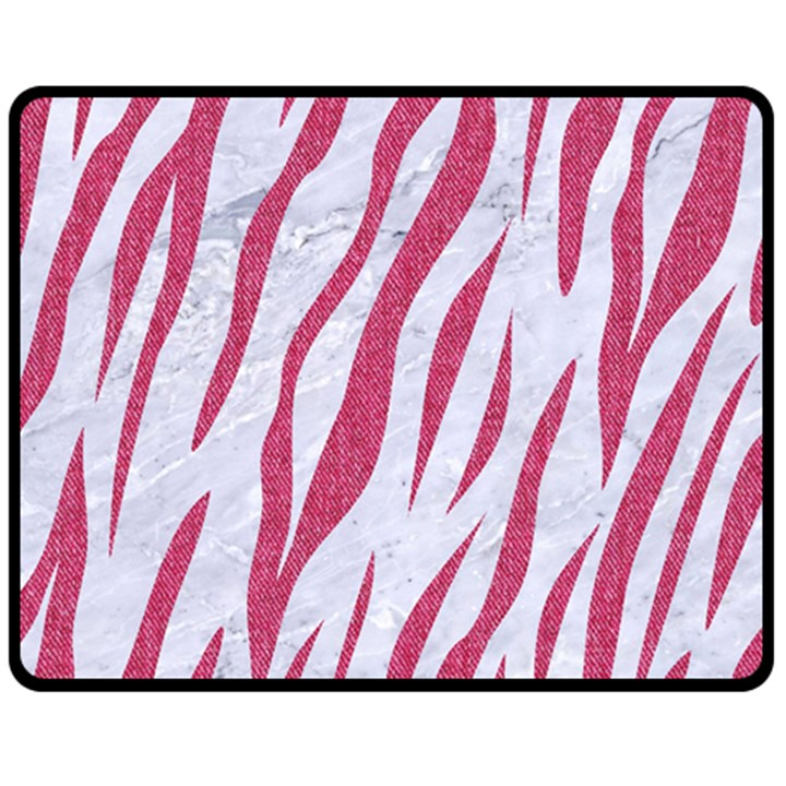 SKIN3 WHITE MARBLE & PINK DENIM (R) Double Sided Fleece Blanket (Medium)