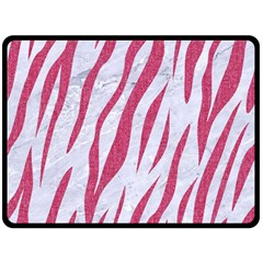 Skin3 White Marble & Pink Denim (r) Double Sided Fleece Blanket (large)