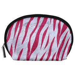 Skin3 White Marble & Pink Denim (r) Accessory Pouches (large)