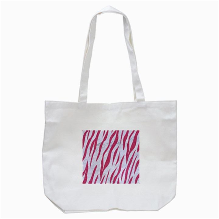 SKIN3 WHITE MARBLE & PINK DENIM (R) Tote Bag (White)