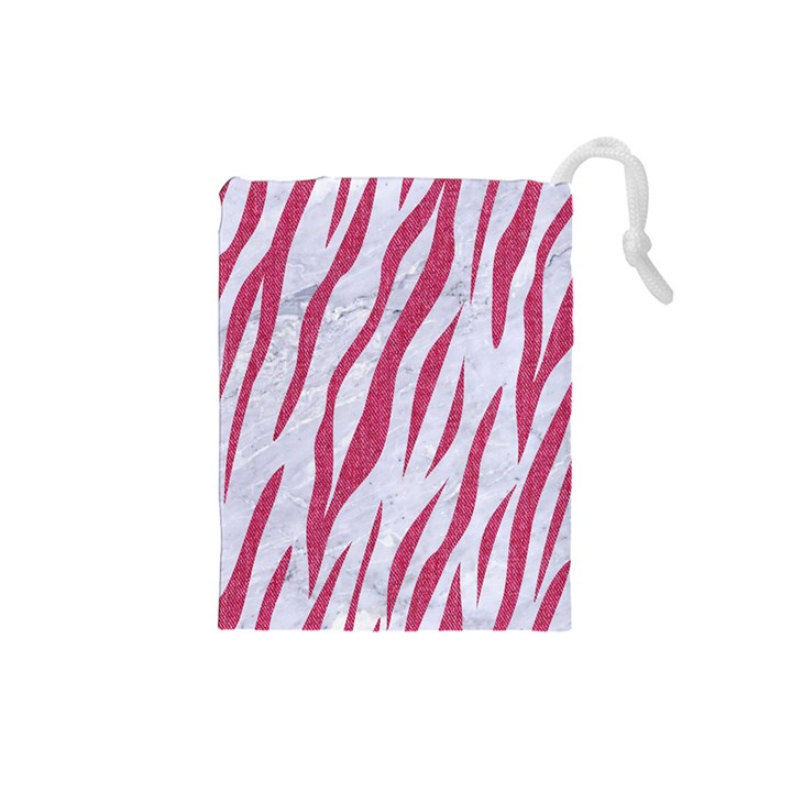 SKIN3 WHITE MARBLE & PINK DENIM (R) Drawstring Pouches (Small)