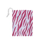SKIN3 WHITE MARBLE & PINK DENIM (R) Drawstring Pouches (Small)  Back