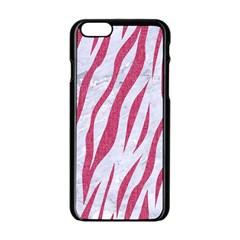 Skin3 White Marble & Pink Denim (r) Apple Iphone 6/6s Black Enamel Case