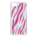 SKIN3 WHITE MARBLE & PINK DENIM (R) Apple iPhone 8 Seamless Case (White) Front