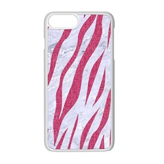 Skin3 White Marble & Pink Denim (r) Apple Iphone 8 Plus Seamless Case (white)