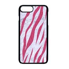 Skin3 White Marble & Pink Denim (r) Apple Iphone 8 Plus Seamless Case (black)