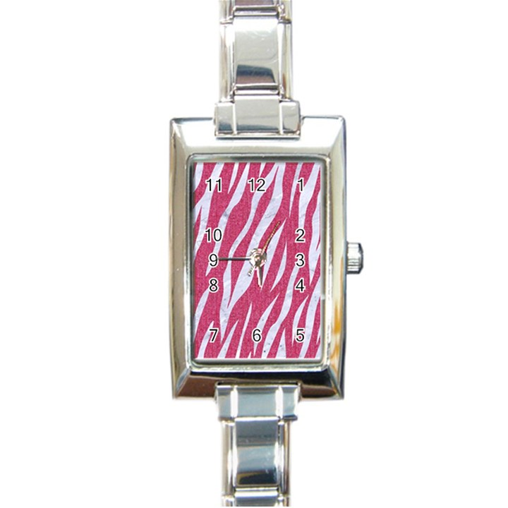 SKIN3 WHITE MARBLE & PINK DENIM Rectangle Italian Charm Watch