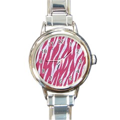 Skin3 White Marble & Pink Denim Round Italian Charm Watch