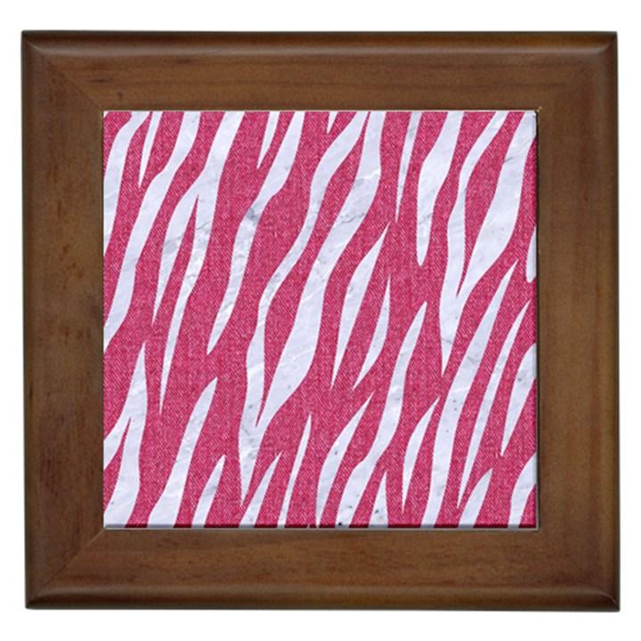 SKIN3 WHITE MARBLE & PINK DENIM Framed Tiles