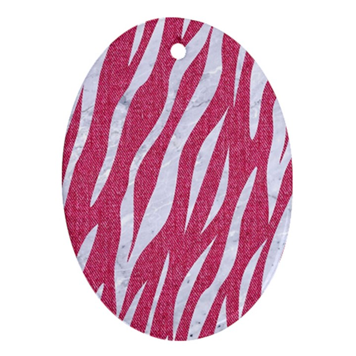 SKIN3 WHITE MARBLE & PINK DENIM Ornament (Oval)
