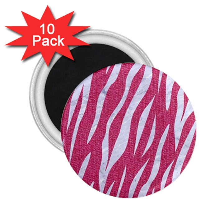 SKIN3 WHITE MARBLE & PINK DENIM 2.25  Magnets (10 pack)