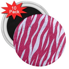 Skin3 White Marble & Pink Denim 3  Magnets (10 Pack)