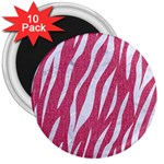 SKIN3 WHITE MARBLE & PINK DENIM 3  Magnets (10 pack)  Front