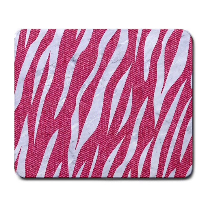 SKIN3 WHITE MARBLE & PINK DENIM Large Mousepads