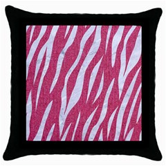 Skin3 White Marble & Pink Denim Throw Pillow Case (black) by trendistuff