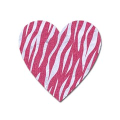 Skin3 White Marble & Pink Denim Heart Magnet by trendistuff
