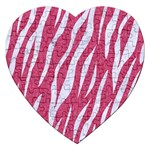 SKIN3 WHITE MARBLE & PINK DENIM Jigsaw Puzzle (Heart) Front
