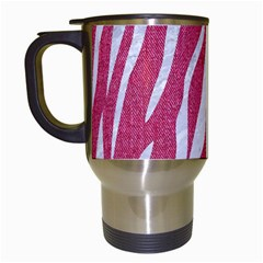 Skin3 White Marble & Pink Denim Travel Mugs (white)