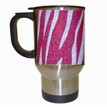 SKIN3 WHITE MARBLE & PINK DENIM Travel Mugs (White) Left