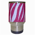 SKIN3 WHITE MARBLE & PINK DENIM Travel Mugs (White) Center