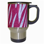 SKIN3 WHITE MARBLE & PINK DENIM Travel Mugs (White) Right