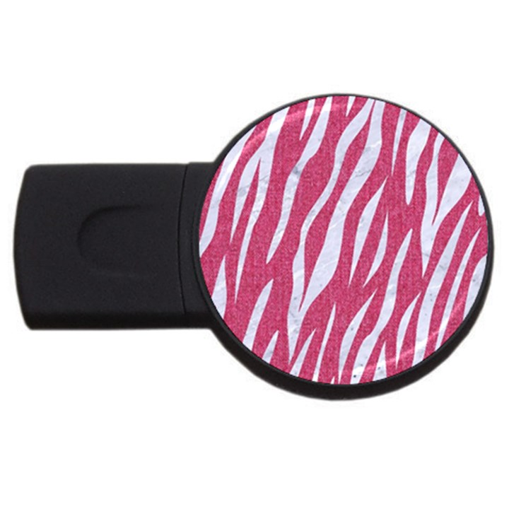 SKIN3 WHITE MARBLE & PINK DENIM USB Flash Drive Round (4 GB)