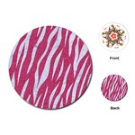 SKIN3 WHITE MARBLE & PINK DENIM Playing Cards (Round)  Front