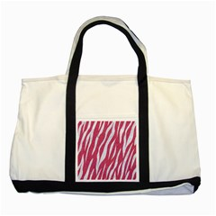 Skin3 White Marble & Pink Denim Two Tone Tote Bag by trendistuff