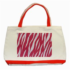 Skin3 White Marble & Pink Denim Classic Tote Bag (red) by trendistuff
