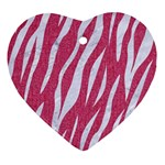 SKIN3 WHITE MARBLE & PINK DENIM Heart Ornament (Two Sides) Front