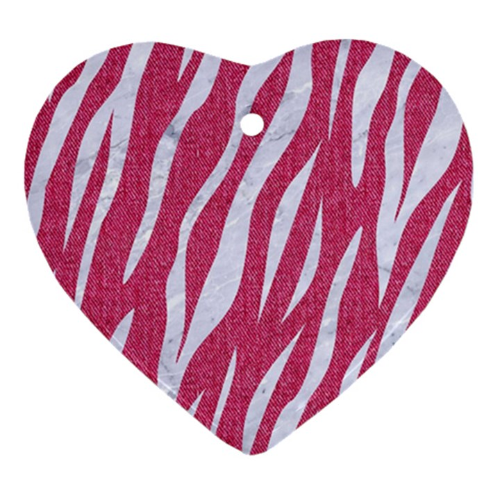 SKIN3 WHITE MARBLE & PINK DENIM Heart Ornament (Two Sides)