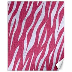 Skin3 White Marble & Pink Denim Canvas 11  X 14