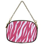 SKIN3 WHITE MARBLE & PINK DENIM Chain Purses (Two Sides)  Front
