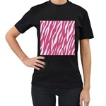 SKIN3 WHITE MARBLE & PINK DENIM Women s T-Shirt (Black) Front