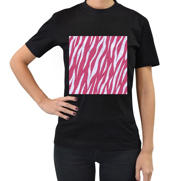 SKIN3 WHITE MARBLE & PINK DENIM Women s T-Shirt (Black)
