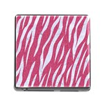 SKIN3 WHITE MARBLE & PINK DENIM Memory Card Reader (Square) Front